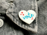 Cute Vote Pin, Hand-Painted Acrylic