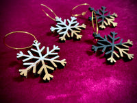 Gilded Snowflake Hoop Earrings