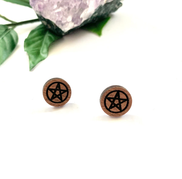 Pentagram Stud Earrings, Walnut
