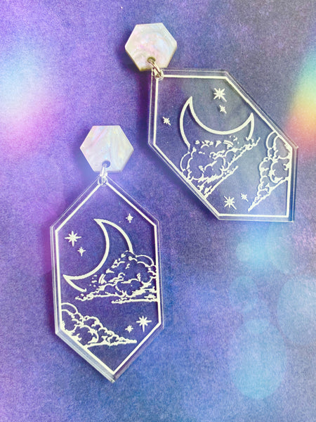Dreamscape Earrings, Moon and Stars
