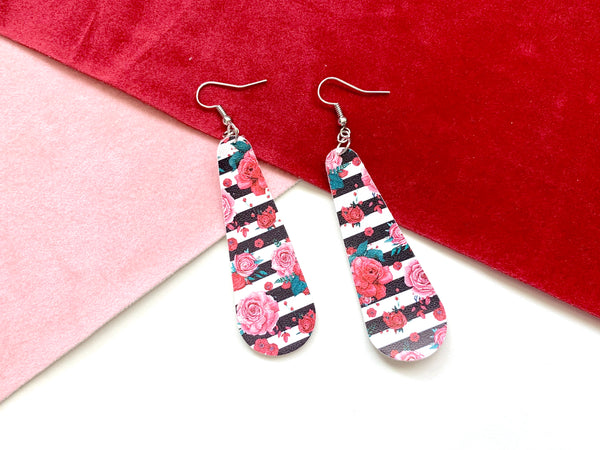 Roses and Stripes Long Teardrop Earrings, Vegan Faux Leather