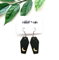Coffin Earrings, Hand-Painted Birch