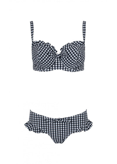 Gingham Black Check Hipster Bikini Brief