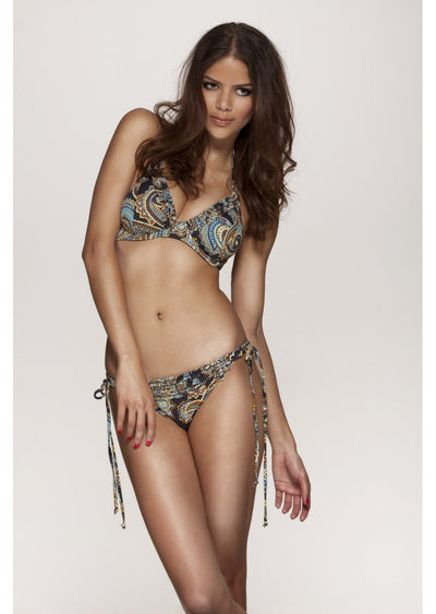 India Black Paisley Print Tieside Bikini Brief