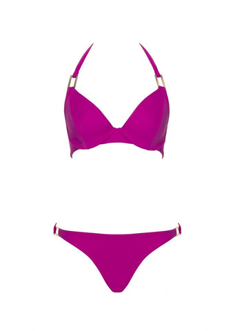 Fuller Bust Boudoir Beach Magenta Underwired Halter Bikini Top, D-GG Cup Sizes