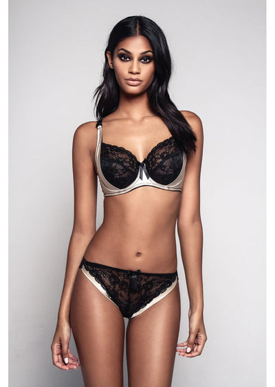 Amelie Champagne & Black Lace Brief