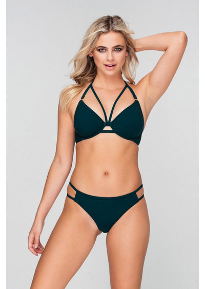 Fuller Bust Icon Forest Green Underwired Halter Strappy Bikini Top, D-GG Cup Sizes