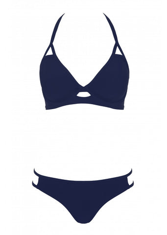 Fuller Bust Icon Navy Underwired Halter Bikini Top, D-GG Cup Sizes