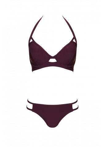 Fuller Bust Icon Maroon Underwired Halter Bikini Top, D-GG Cup Sizes