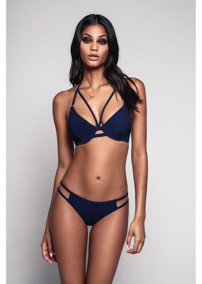 Fuller Bust Icon Navy Underwired Halter Strappy Bikini Top, D-GG Cup Sizes