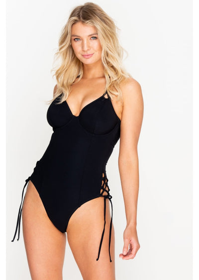 Fuller Bust Icon Black Underwired Halter Swimsuit, DD-G Cup Sizes