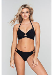 Fuller Bust Icon Black Underwired Halter Bikini Top, D-GG Cup Sizes
