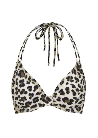 Fuller Bust Vegas Animal Print Underwired Halter Bikini Top, D-GG Cup Sizes