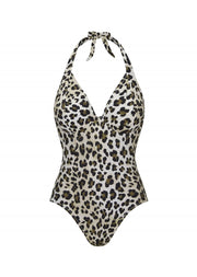 Fuller Bust Vegas Animal Print Underwired Halter Swimsuit, D-GG Cup Sizes