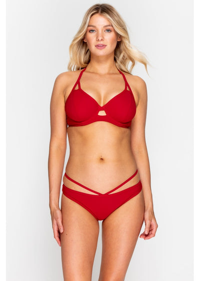 Fuller Bust Icon Red Underwired Halter Bikini Top, D-GG Cup Sizes