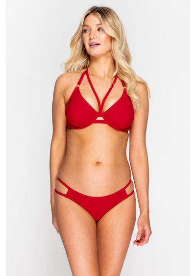 Fuller Bust Icon Red Underwired Halter Strappy Bikini Top, D-GG Cup Sizes