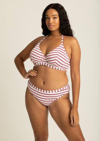 Fuller Bust Beachcomber Red Stripe Underwired Halter Bikini Top, D-GG Cup Sizes