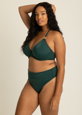 Boudoir Beach Pine Green Fold Over Brief