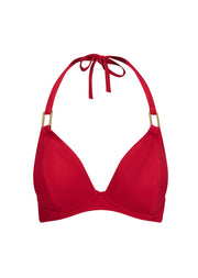 Fuller Bust Boudoir Beach Crimson Red Underwired Halter Bikini Top, D-GG Cup Sizes