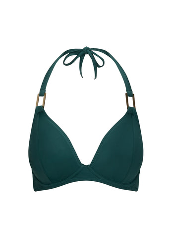Fuller Bust Boudoir Beach Pine Green Underwired Halter Bikini Top, D-GG Cup Sizes