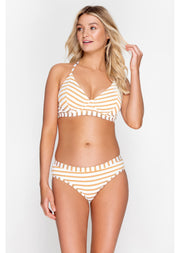 Fuller Bust Beachcomber Gold Stripe Underwired Halter Bikini Top, D-GG Cup Sizes