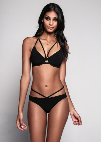 Fuller Bust Icon Black Underwired Strappy Bikini Top, D-GG Cup Sizes