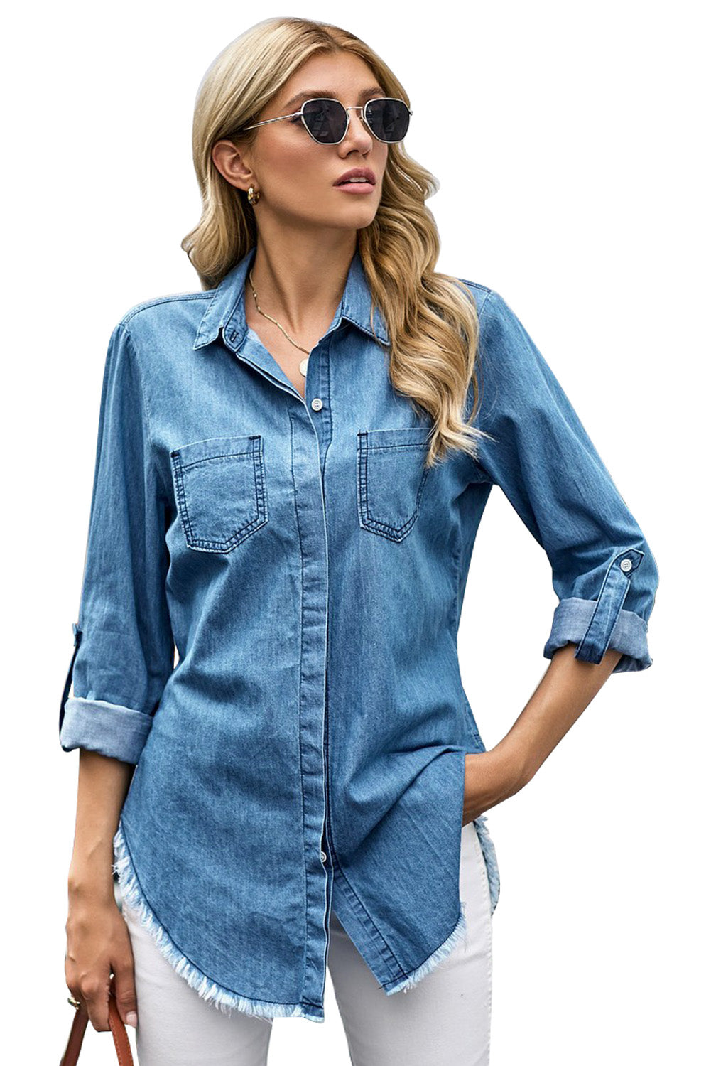 Roll up Long Sleeves Frayed Hem Denim Shirt Blouses & Shirts Discount Designer Fashion Clothes Shoes Bags Women Men Kids Children Black Owned Business
