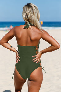Army Green Lace up Side Accent Open Back One-piece Swimsuit One-Piece Swimwear Discount Designer Fashion Clothes Shoes Bags Women Men Kids Children Black Owned Business
