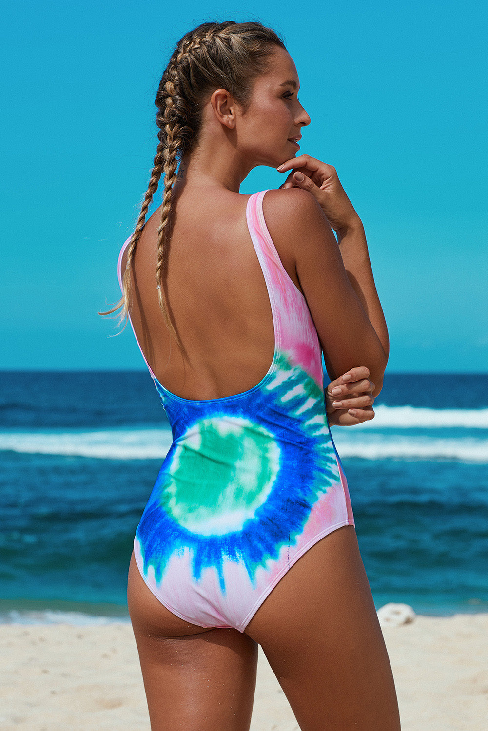 Multicolor Tie Dye Open Back One-piece Swimwear One-Piece Swimwear Discount Designer Fashion Clothes Shoes Bags Women Men Kids Children Black Owned Business