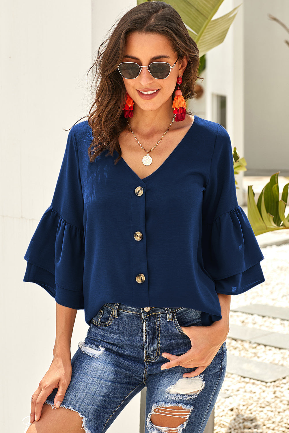Blue Cute V Neck Bell Sleeve Shift Blouse Blouses & Shirts Discount Designer Fashion Clothes Shoes Bags Women Men Kids Children Black Owned Business