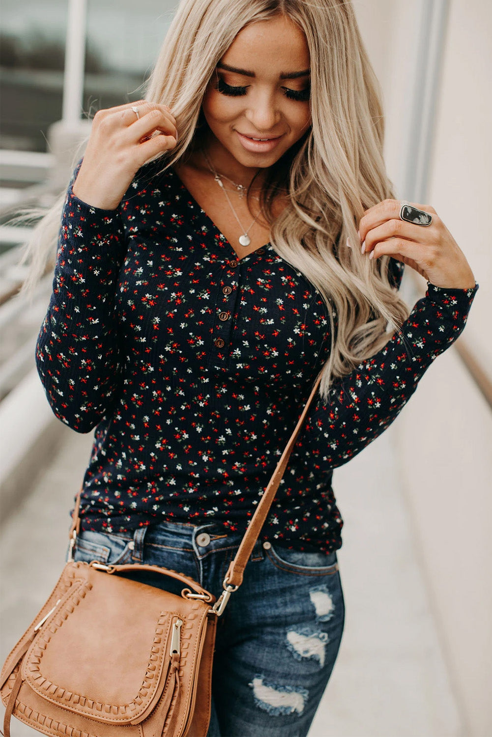 Navy Button V Neck Long Sleeve Floral Top Long Sleeve Tops Discount Designer Fashion Clothes Shoes Bags Women Men Kids Children Black Owned Business
