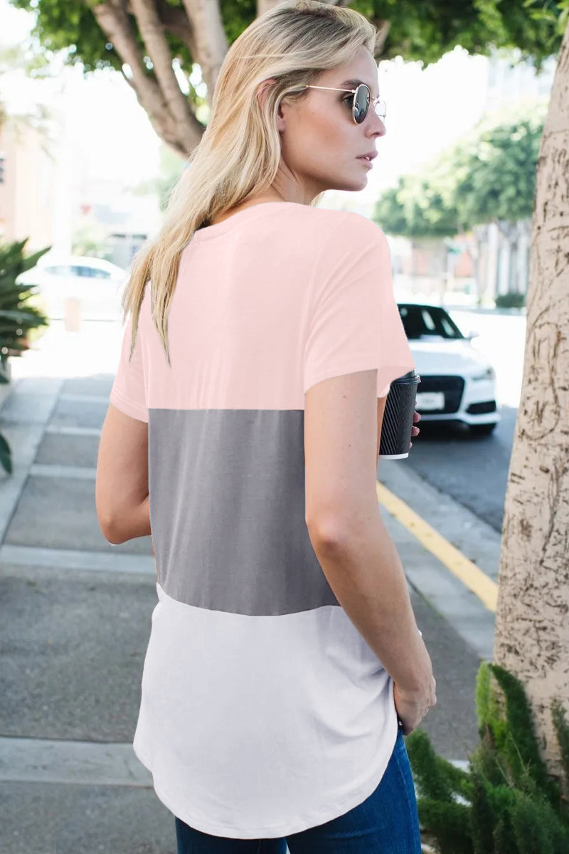 Pink Color Block V Neck T-shirt Tops & Tees Discount Designer Fashion Clothes Shoes Bags Women Men Kids Children Black Owned Business