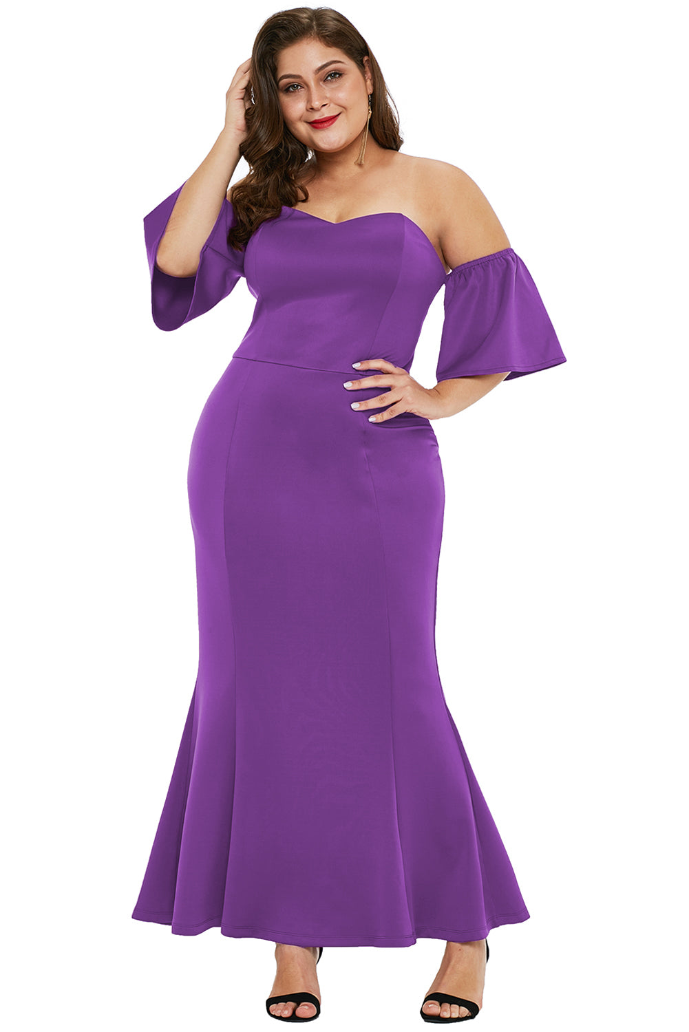 Purple Sexy Strapless Drop Shoulder Plus Size Maxi Dress with Ruffles Plus Size Dresses Discount Designer Fashion Clothes Shoes Bags Women Men Kids Children Black Owned Business