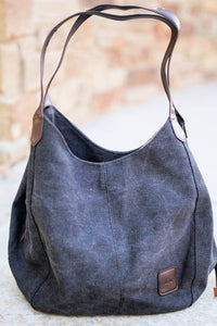 Black Retro One Shoulder Canvas Hobo Handbag Bags Discount Designer Fashion Clothes Shoes Bags Women Men Kids Children Black Owned Business