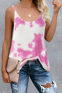 Pink Tie Dye Print Knit Tank Top Tank Tops Discount Designer Fashion Clothes Shoes Bags Women Men Kids Children Black Owned Business