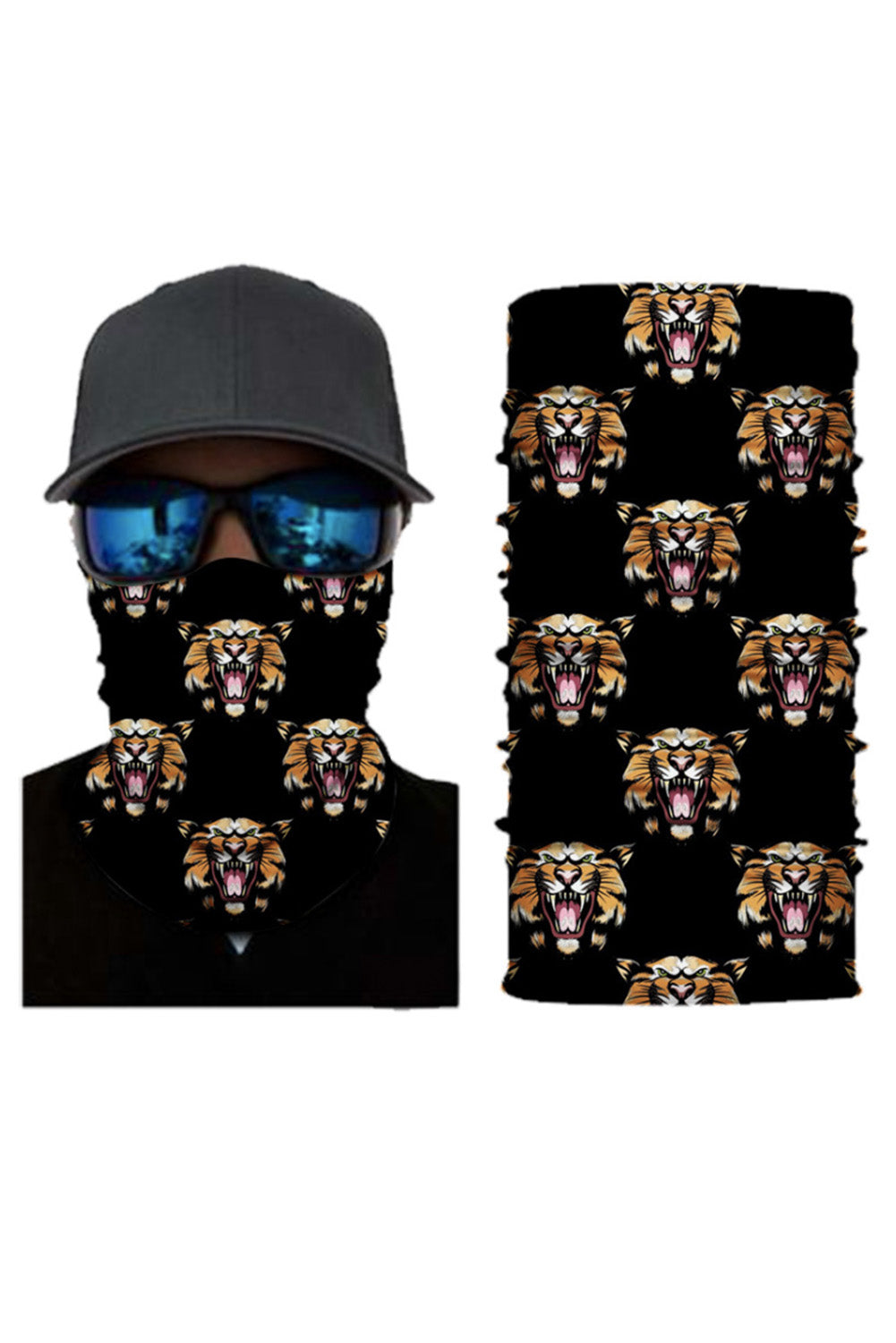 Tiger Print Face Mask and Neck Warmer with Sun UV Protection Neck Gaiter Discount Designer Fashion Clothes Shoes Bags Women Men Kids Children Black Owned Business