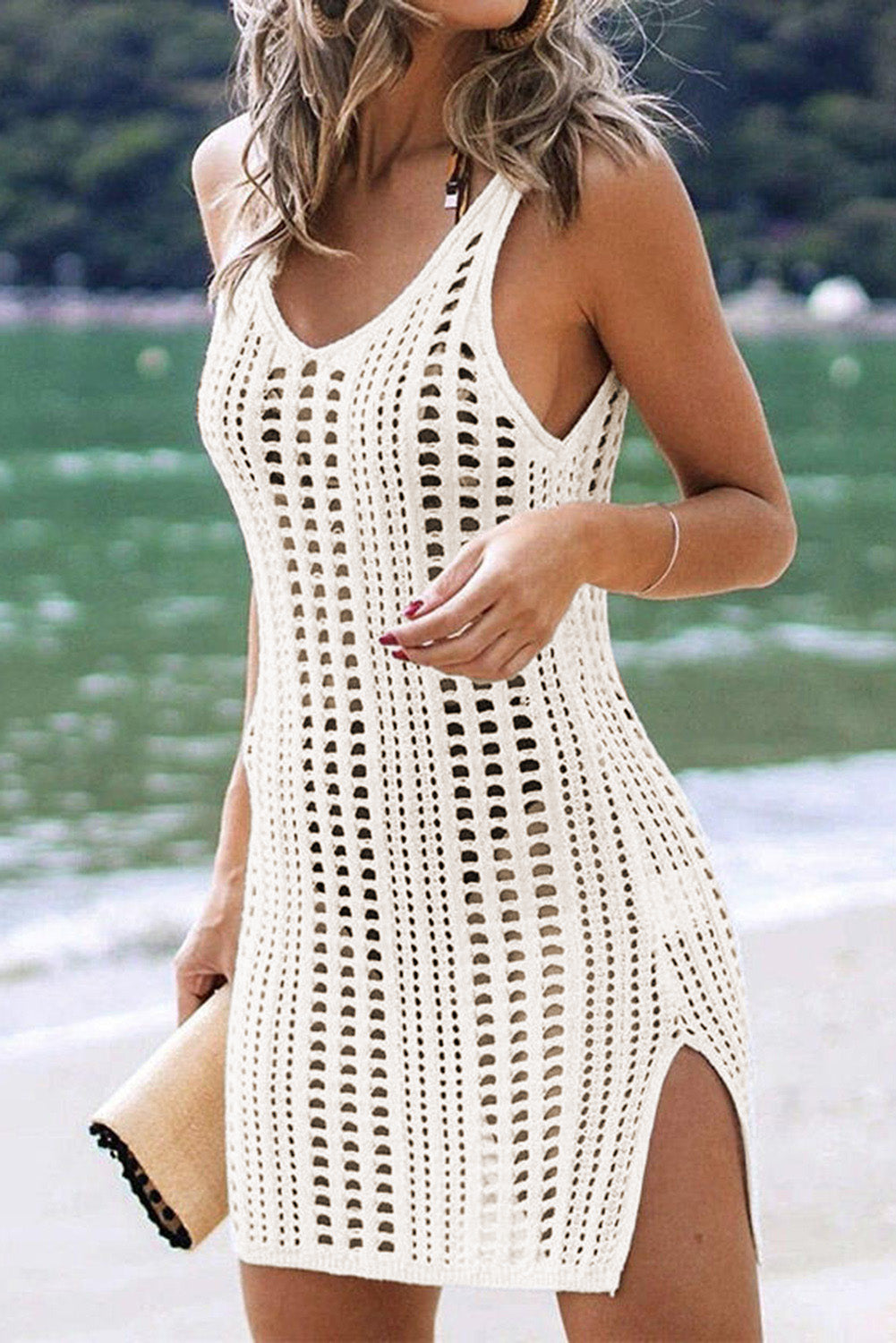 White Hollow Out Crochet Cover Up Beach Dress with Slits Beach Cover-ups Discount Designer Fashion Clothes Shoes Bags Women Men Kids Children Black Owned Business