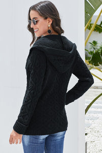 Black Knit Hooded Cardigan