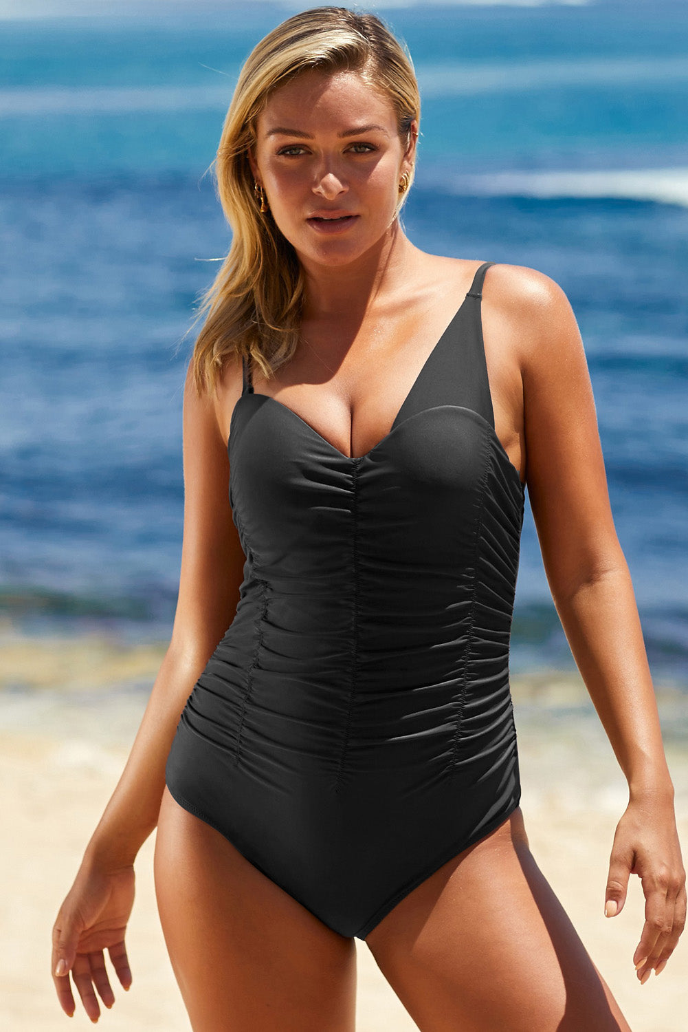 Black Asymmetric Shoulder Ruched Hollow-out Maillot One-Piece Swimwear Discount Designer Fashion Clothes Shoes Bags Women Men Kids Children Black Owned Business