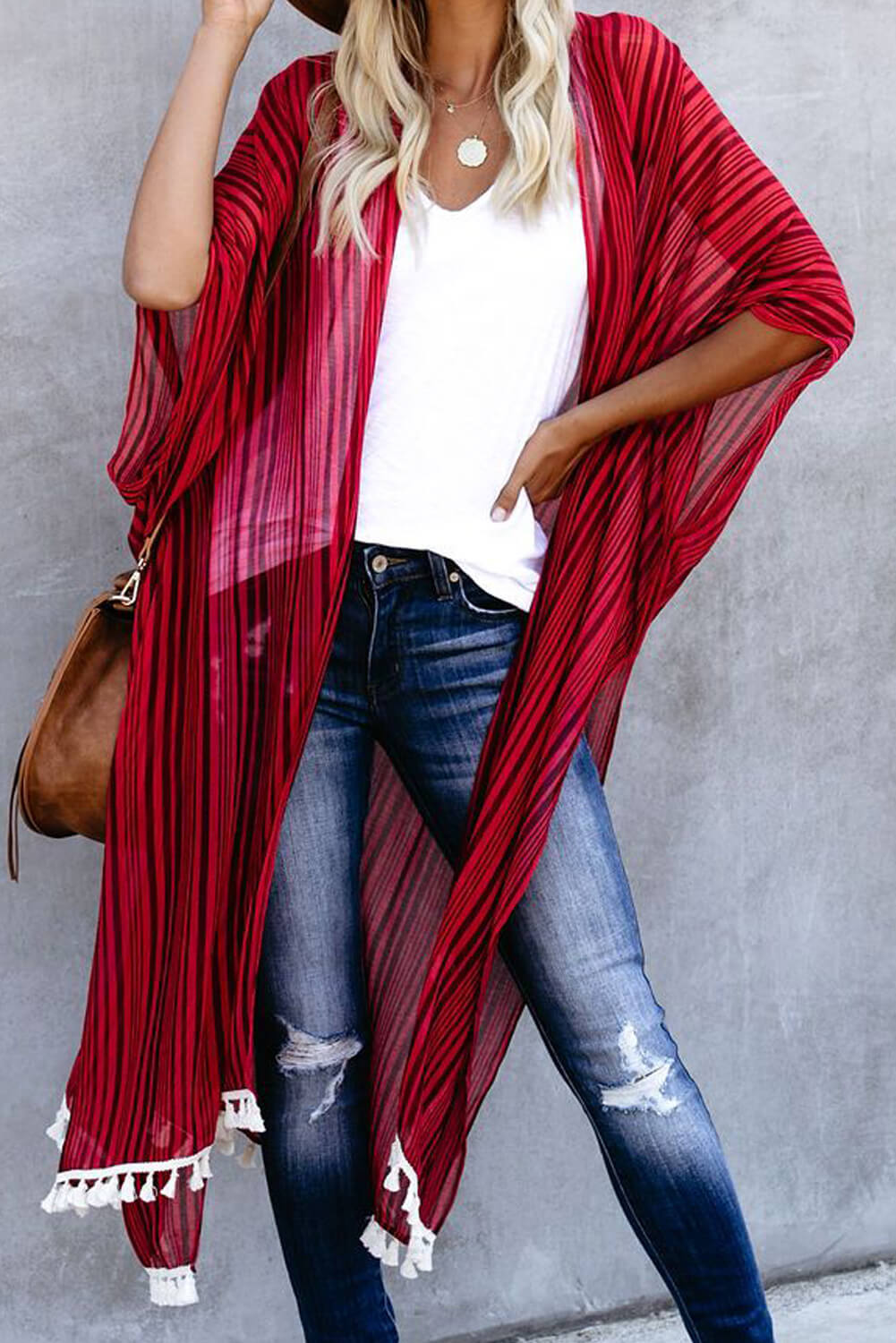 Red Striped Tassel Kimono Beach Dresses Discount Designer Fashion Clothes Shoes Bags Women Men Kids Children Black Owned Business