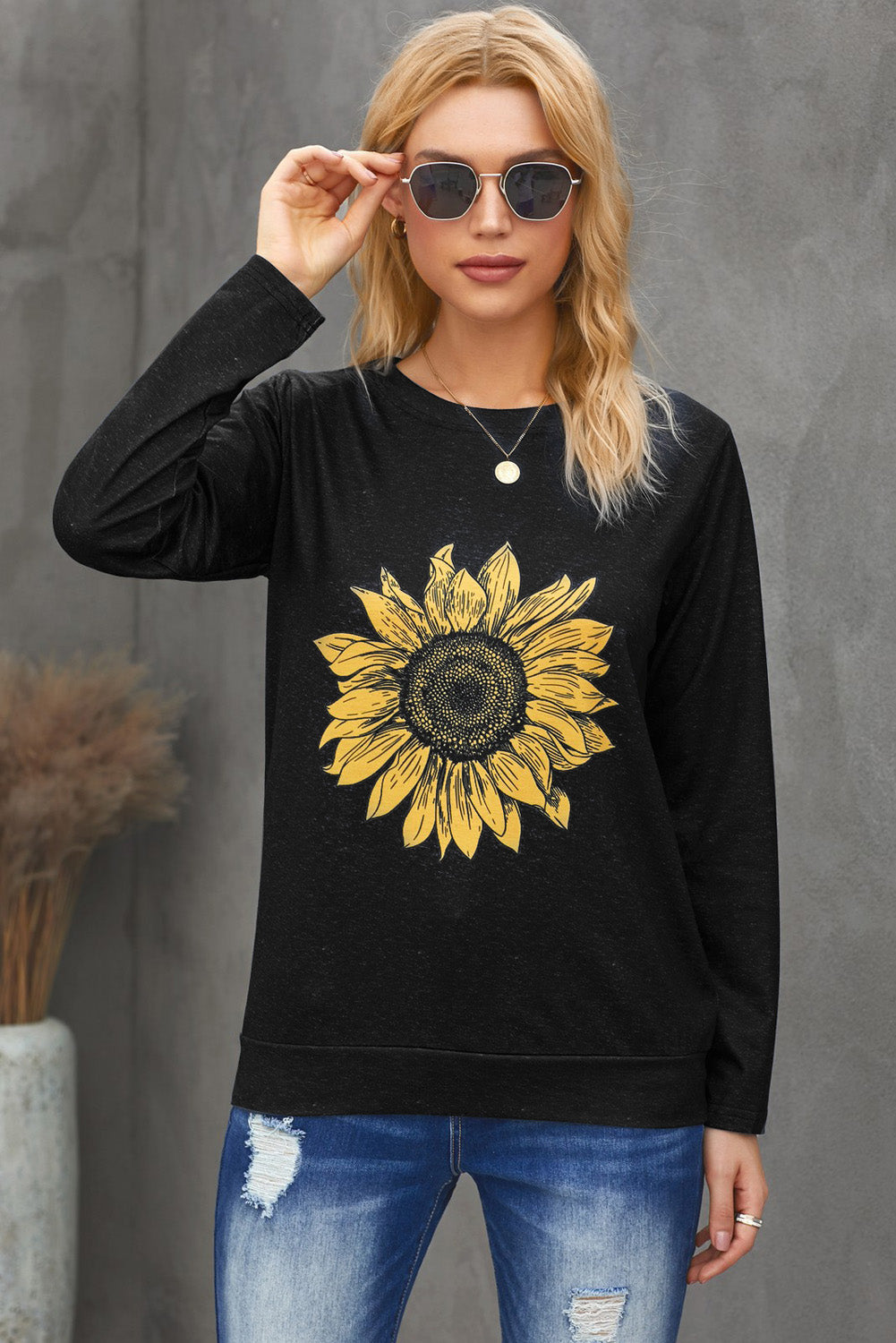 Sunflower Print Black Knit Top Long Sleeve Tops Discount Designer Fashion Clothes Shoes Bags Women Men Kids Children Black Owned Business