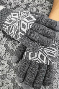 Gray Fashion Pattern Touchscreen Texting Mittens Gloves & Mittens Discount Designer Fashion Clothes Shoes Bags Women Men Kids Children Black Owned Business