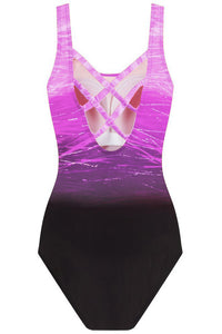 Purple Gradient Criss Cross Back One Piece Swimsuit One-Piece Swimwear Discount Designer Fashion Clothes Shoes Bags Women Men Kids Children Black Owned Business