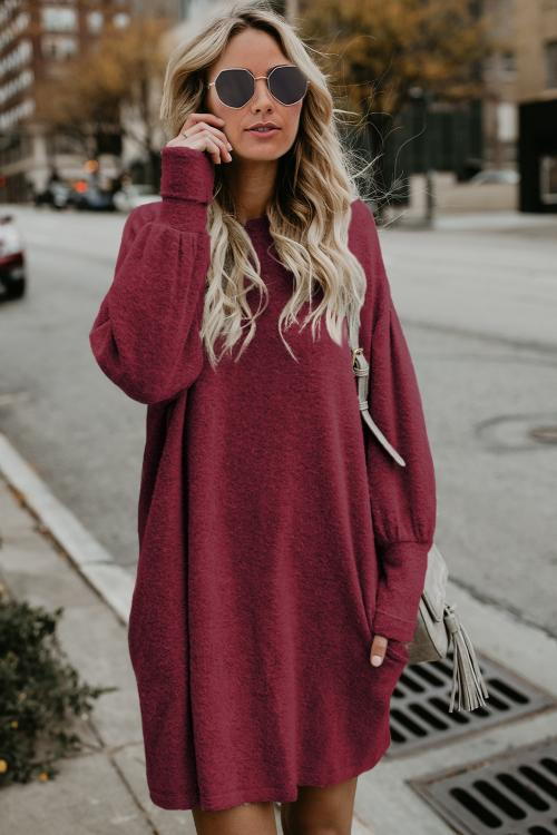 Red Autumn Winter Long Lantern Sleeve Knitted Sweatshirt Dress Mini Dresses Discount Designer Fashion Clothes Shoes Bags Women Men Kids Children Black Owned Business