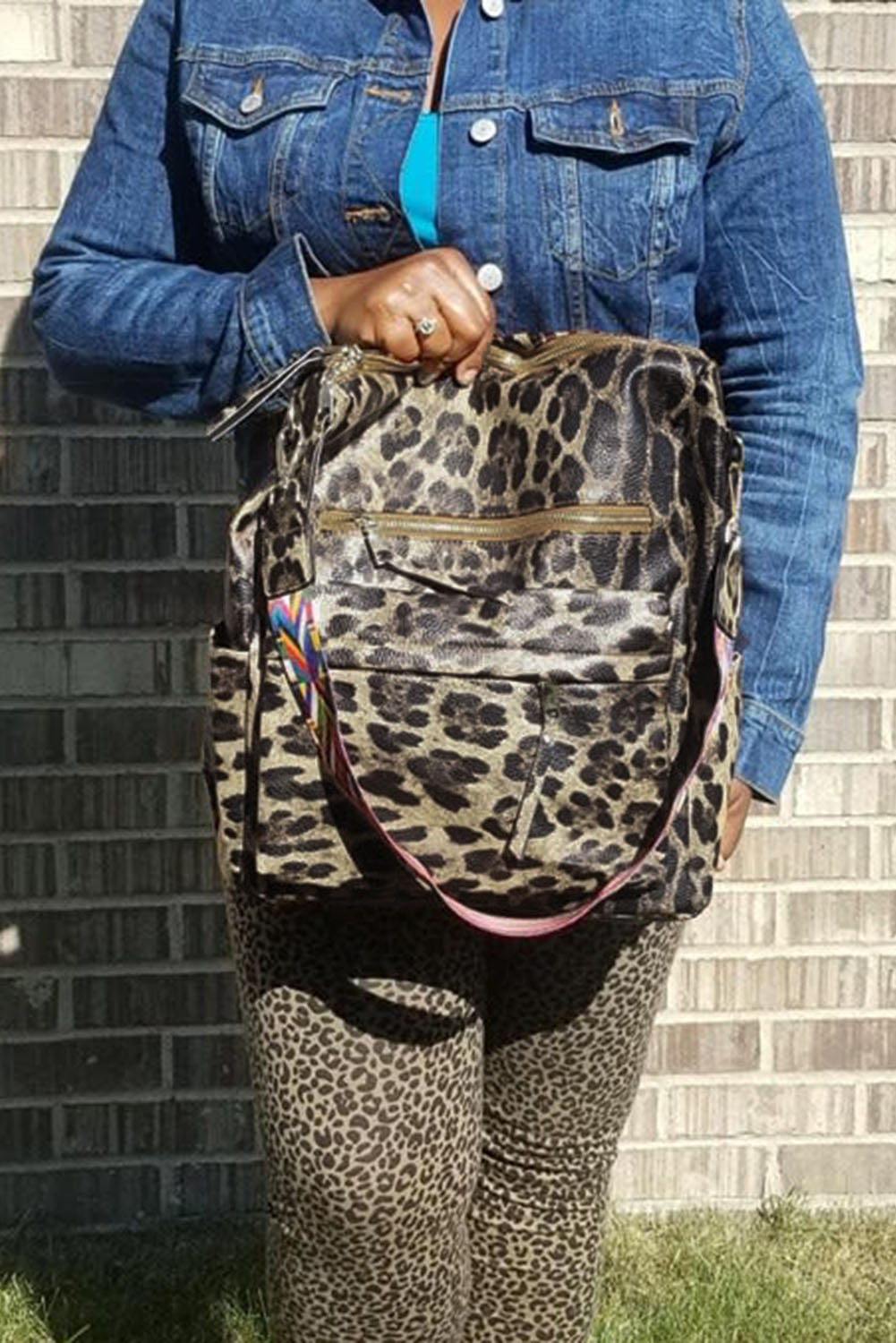 Khaki Leopard Travel Backpack Bags Discount Designer Fashion Clothes Shoes Bags Women Men Kids Children Black Owned Business