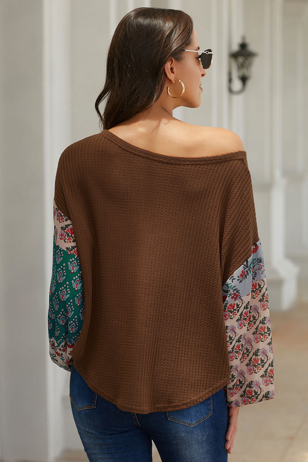 Brown Floral Sleeve Pullover Top Long Sleeve Tops Discount Designer Fashion Clothes Shoes Bags Women Men Kids Children Black Owned Business