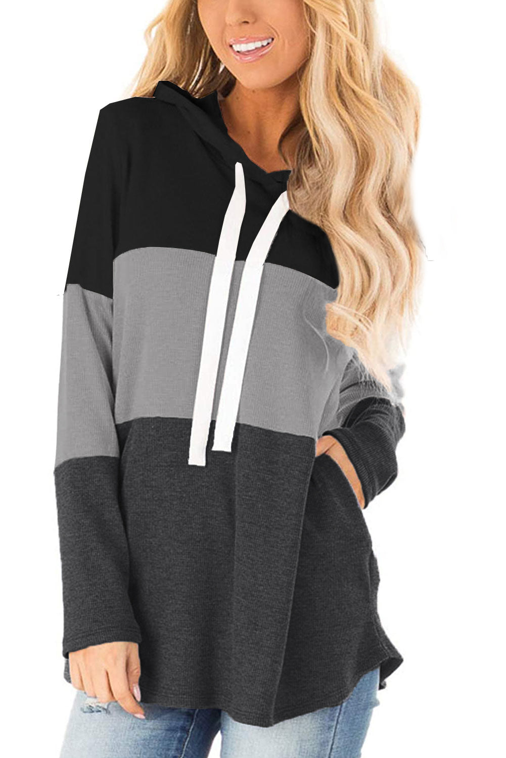 Black Color Block Long Sleeve Drawstring Hoodie Sweatshirts & Hoodies Discount Designer Fashion Clothes Shoes Bags Women Men Kids Children Black Owned Business