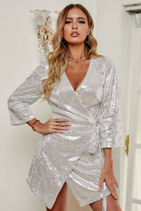 Silver Sequin Wrap Dress with Sash