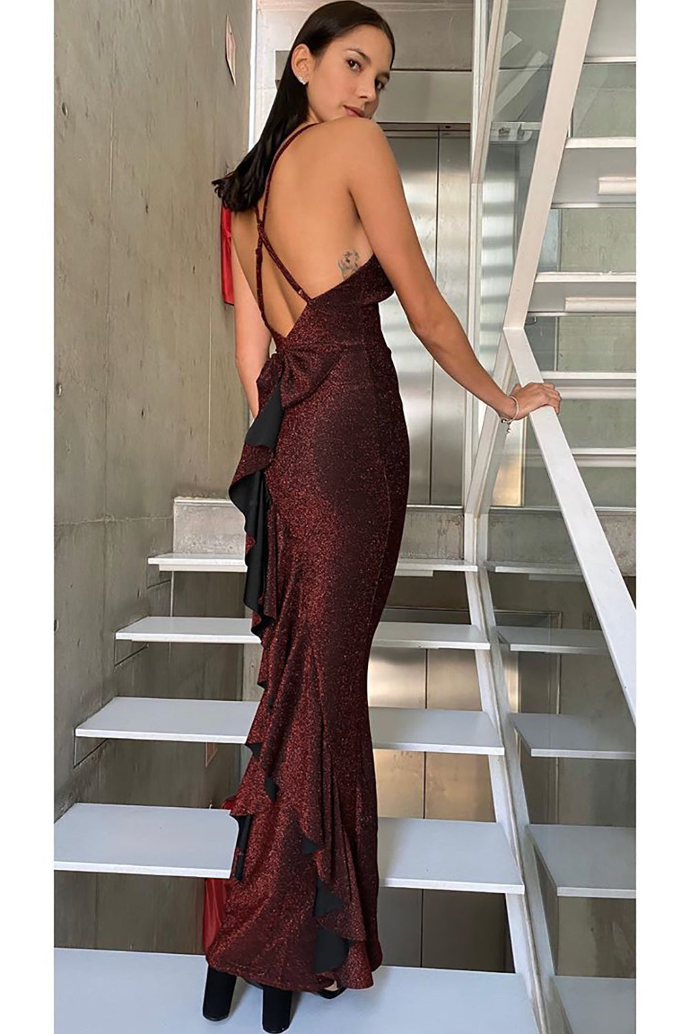 Red This Is Love Glitter Gown Evening Dresses Discount Designer Fashion Clothes Shoes Bags Women Men Kids Children Black Owned Business