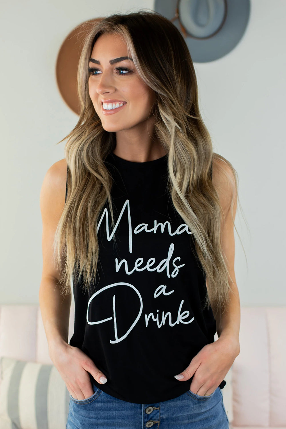 Mama needs a Drink Graphic Tank Tank Tops Discount Designer Fashion Clothes Shoes Bags Women Men Kids Children Black Owned Business